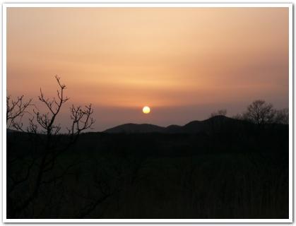 九重町長者原から眺める夕日